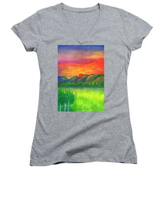 Mystical Red Sunset Women's V-Neck