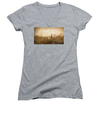 Old Church On A Hill  Women's V-Neck
