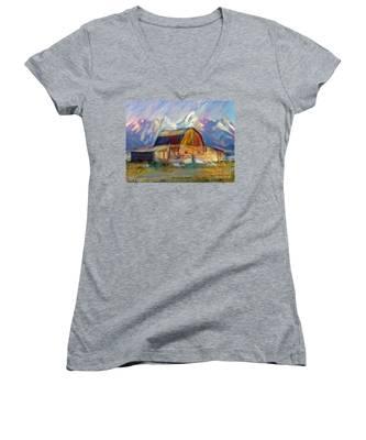 Old Wyoming Barn Women's V-Neck