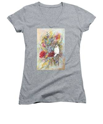 Rare White Sparrow - Portrait View. Women's V-Neck