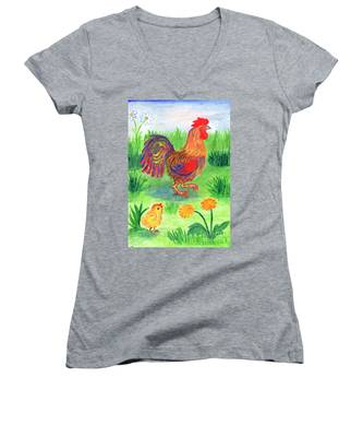 Rooster And Little Chicken Women's V-Neck