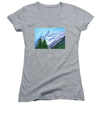 Two Mountain Spruce Against The Backdrop Of Snow-capped Peak Women's V-Neck