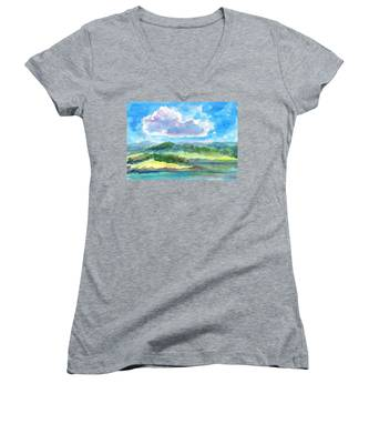 Summer Cloud In The Azure Sky Women's V-Neck