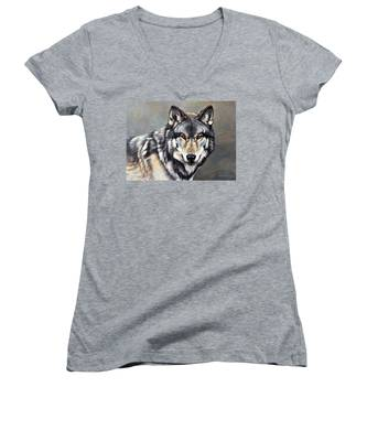 Timber Wolf By Alan M Hunt Women's V-Neck