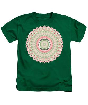 Pink And Green Mandala Fractal 004 Kids T-Shirt