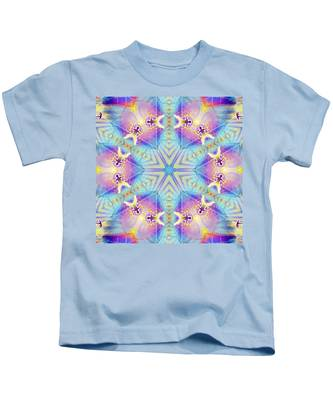 Kids T-Shirt featuring the digital art Cosmic Spiral Kaleidoscope 17 by Derek Gedney