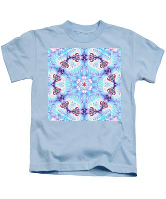 Kids T-Shirt featuring the digital art Cosmic Spiral Kaleidoscope 32 by Derek Gedney