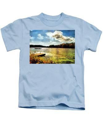 Kids T-Shirt featuring the painting Mohegan Lake Gold by Derek Gedney