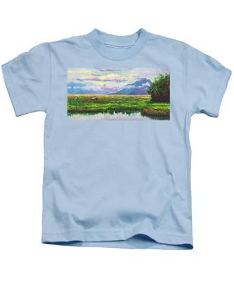 Nomad - Alaska Landscape With Joe Redington's Boat In Knik Alaska Kids T-Shirt