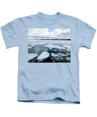 Rhinecliff Bridge Over The Icy Hudson River Kids T-Shirt