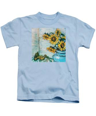 Sunflowers And Frog Kids T-Shirt
