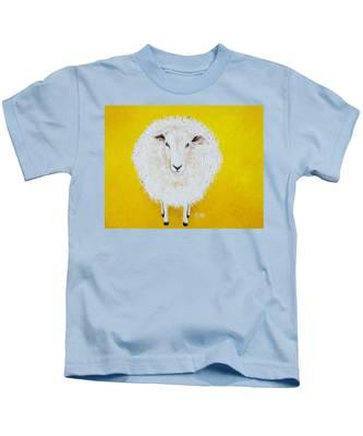 Sheep Painting On Yellow Background Kids T-Shirt