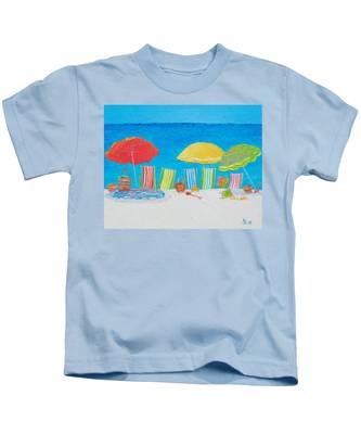Beach Painting - Deck Chairs Kids T-Shirt