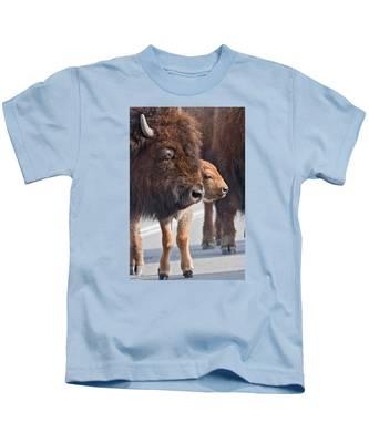 Bison And Calf Kids T-Shirt
