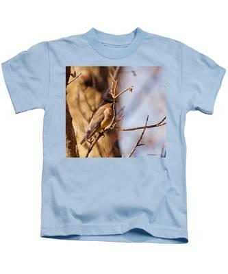 Cedar Waxwing In Autumn Kids T-Shirt