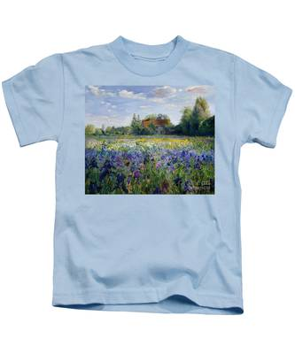 Evening At The Iris Field Kids T-Shirt