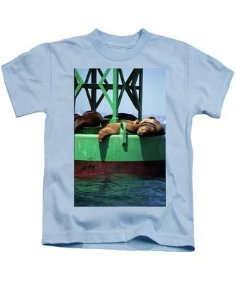 Seals On Channel Marker Kids T-Shirt