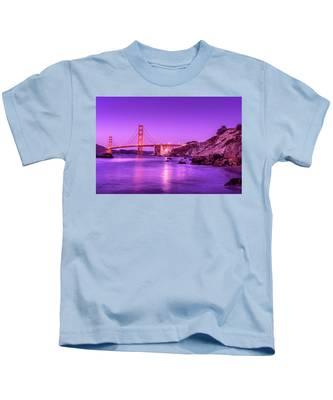 Golden Gate Bridge At Night Kids T-Shirt