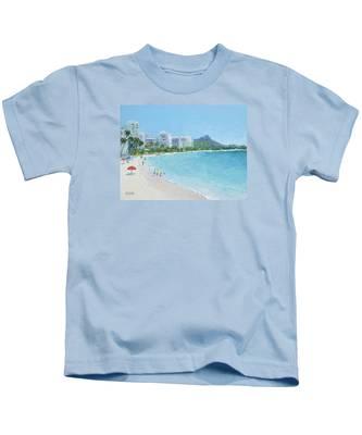 Waikiki Beach Honolulu Hawaii Kids T-Shirt
