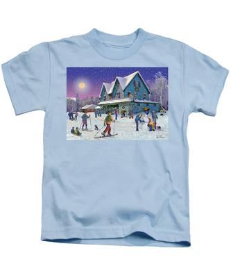 Winter In Campton Village Kids T-Shirt