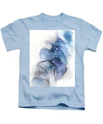 Blue Petal Dots Whispy Abstract Painting Kids T-Shirt