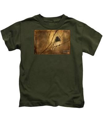 Backlit Birdie Being Buffeted  Kids T-Shirt