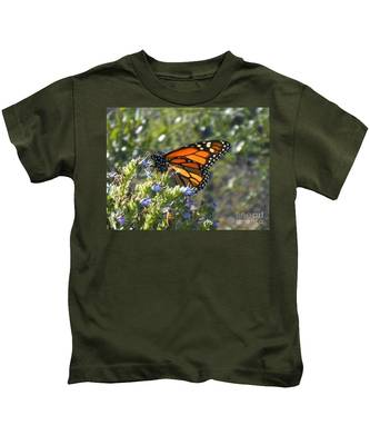 Kids T-Shirt featuring the photograph Bee And Monarch  by Bridgette Gomes