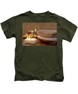 Candles And Towels In A Spa Kids T-Shirt