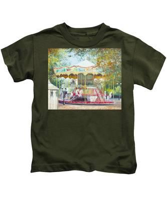 Carousel In Montmartre Paris Kids T-Shirt