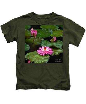 Hot Pink And Green Tropical Waterlilies Kids T-Shirt