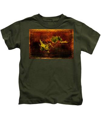 Leaves On Texture Kids T-Shirt