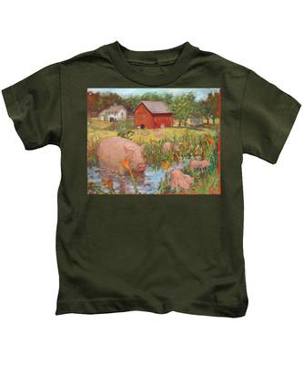 Pigs And Lilies Kids T-Shirt