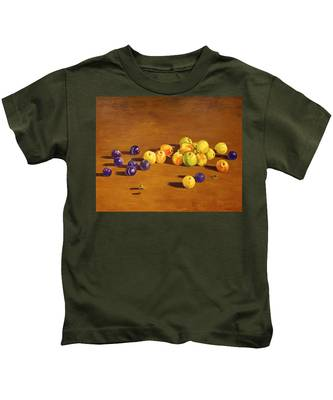 Plums And Apples Still Life Kids T-Shirt