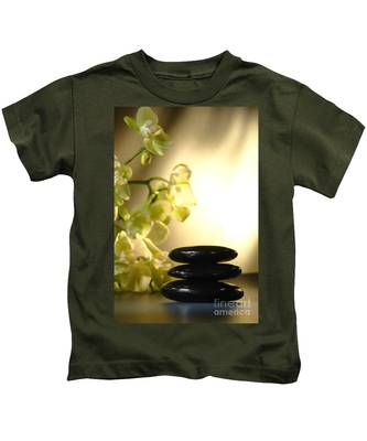 Stone Cairn And Orchids Kids T-Shirt