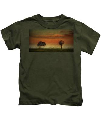 Sunset Over The Country Kids T-Shirt