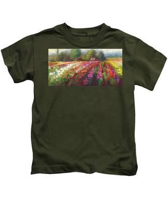 Trespassing Dahlia Field Landscape Kids T-Shirt