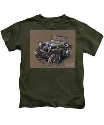 Willys Car Drawing Kids T-Shirt