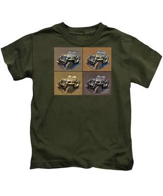 Willys Jeep Mb Car Drawing Kids T-Shirt