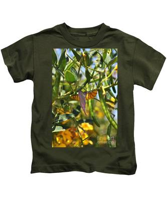 Kids T-Shirt featuring the photograph Purple Pink Green Chrysalis  by Bridgette Gomes