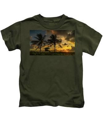 Two Palm Sunrise Delray Beach Florida Kids T-Shirt