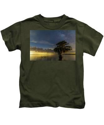 Blue Cypress Lake Nightsky Kids T-Shirt