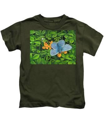 Common Blue On Bird's-foot Trefoil Kids T-Shirt