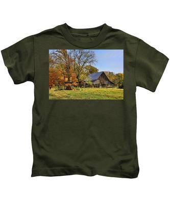 Country Barn And A Pink Flamingo By H H Photography Of Florida Kids T-Shirt