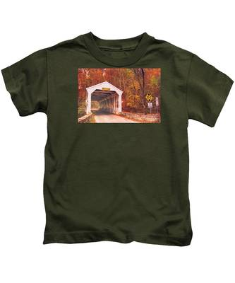 Covered Bridge At Valley Forge Kids T-Shirt