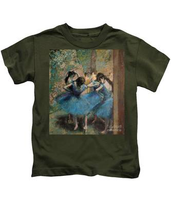 Dancers In Blue Kids T-Shirt