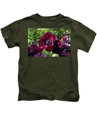 Deep Ranunculus Kids T-Shirt by Bridgette Gomes