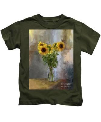 Five Sunflowers Centered Kids T-Shirt