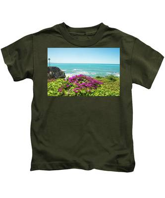 Flowers On The Cliff Kids T-Shirt