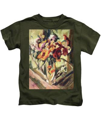 Gerberas In Glass Vase Kids T-Shirt
