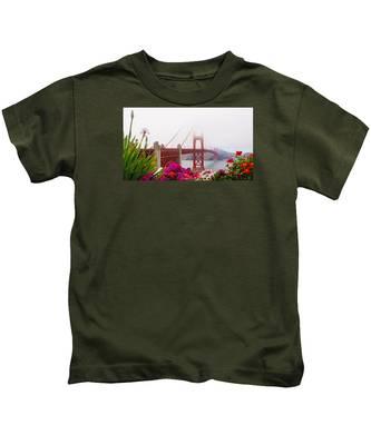Golden Gate Bridge Flowers 2 Kids T-Shirt